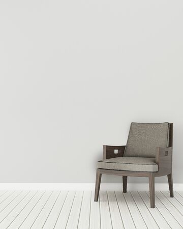 Photo pour Comfort space in house.empty room with wooden chair. modern interior design.  3d rendering - image libre de droit