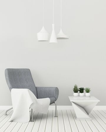 Photo pour Comfort space in home. Living room interior.empty room with chair and table white. 3d rendering - image libre de droit