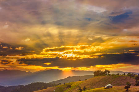 Photo for Panorama Aerial View of Pa Bong Piang terraced rice fields at sun set time, Mae Chaem, Chiang Mai Thailand. - Royalty Free Image