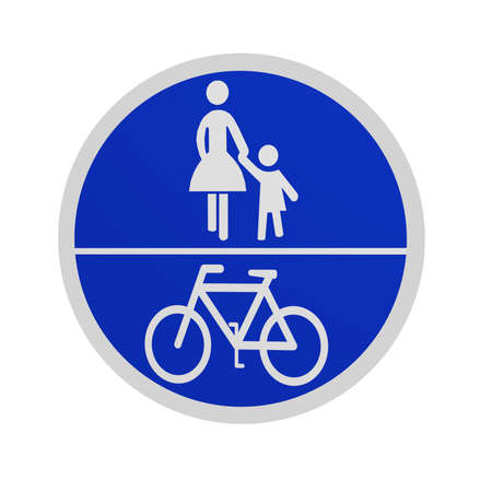 German traffic sign (special path): common bicycle and sidewalk, isolated in white on the front. 3d rendering