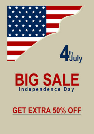 Vector Sale Poster with American Flag. EPS 10 vector file