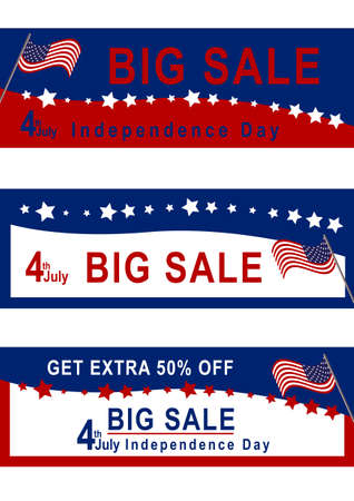Sale banner for July 4th with American flag in red, blue and white vector file.
