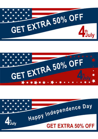 Sale banner for the 4th of July with American flag vector file.