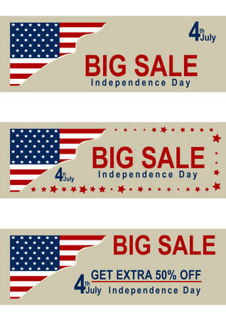 Set sale banner for Independence Day with American flag vector file.