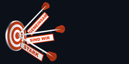 Foto für Arrows on target. Concept for motivation. With text in German: Together we are strong. 3d rendering - Lizenzfreies Bild