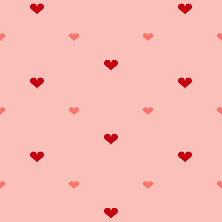 Seamless pattern with hearts in reds. Vector file eps 10