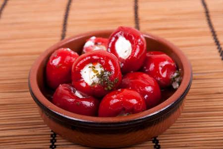 Foto für sweet red peppers stuffed with soft cream cheese - Lizenzfreies Bild