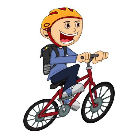 Illustration pour Boy on a bicycle cartoon - image libre de droit