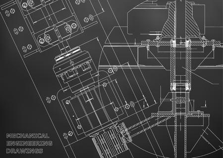 Illustration pour Blueprints. Mechanical engineering drawings. Technical Design. Cover. Banner. Black - image libre de droit
