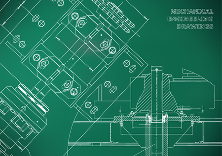 Engineering backgrounds. Technical Design. Mechanical engineering drawings. Blueprints. Light green