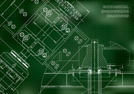 Engineering backgrounds. Technical Design. Mechanical engineering drawings. Blueprints. Green. Points