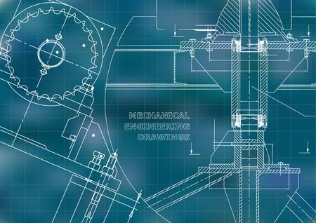 Blueprints. Mechanical construction. Technical Design. Engineering illustrations. Banner. Blue. Grid