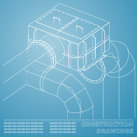 Drawings of structures. Pipes and pipe. 3d blueprint of steel structures. Blue and white