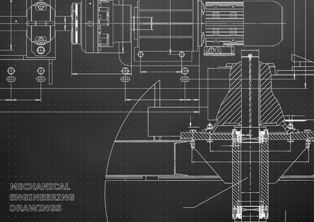 Illustration pour Engineering backgrounds of Mechanical engineering drawings. - image libre de droit