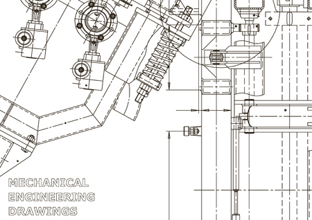 Illustration pour Vector engineering illustration. Mechanical engineering drawing. Instrument-making drawings. Computer aided design systems. Technical illustrations - image libre de droit