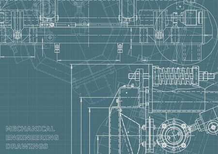 Illustration pour Machine-building industry. Computer aided design systems. Technical illustrations, Corporate Identity. Instrument-making drawings. Blueprint, diagram, plan, sketch - image libre de droit
