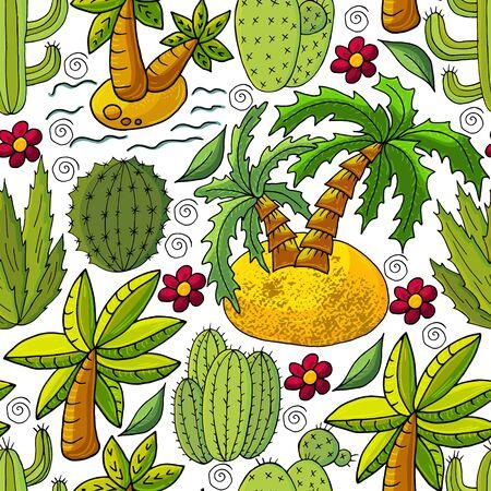 Illustration pour Seamless botanical illustration. Tropical pattern of different cacti, aloe, exotic animals. Palm trees, colorful flowers - image libre de droit