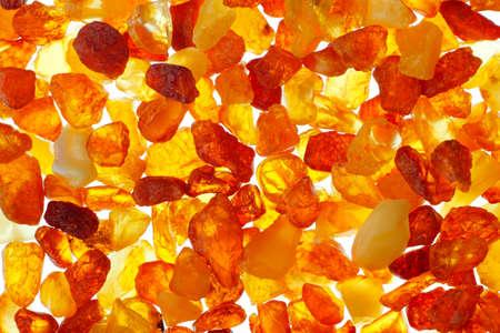 Close up shot of baltic amber stones  Backlight illumination