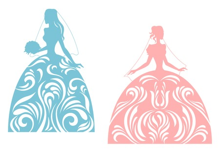 Illustration pour Young bride silhouette for wedding design. Vector illustration - image libre de droit
