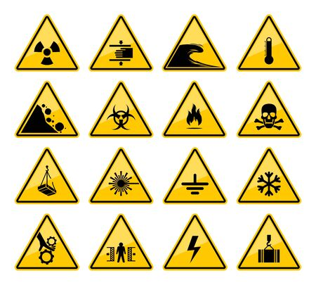 Illustration pour Hazard warning sign vector icons of danger caution and safety attention. - image libre de droit