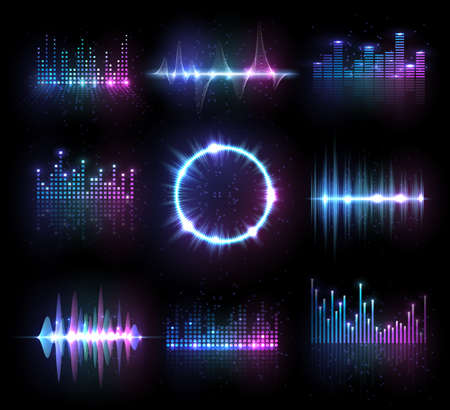 Photo for Music equalizers, isolated vector audio or radio waves, sound frequency lines and circle. Digital player display waveform, hud technology for tune bar, soundwave recorder signal. Song studio pulse set - Royalty Free Image