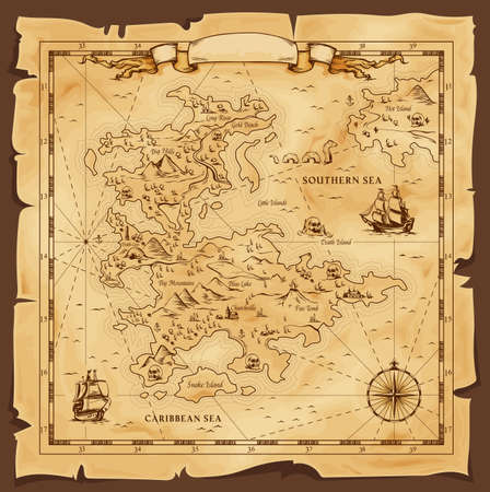 Illustration for Old map, vector worn parchment with caribbean and southern sea, ships, islands and land, wind rose and cardinal points. Fantasy world, vintage grunge paper pirate map with travel locations and monster - Royalty Free Image