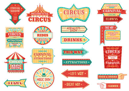 Illustration for Big top circus show retro signs, glowing arrow pointers. Carnival and fair signage, circus freak show and aerialists performance, magical and clown show, food and drinks illuminating pointers vector - Royalty Free Image