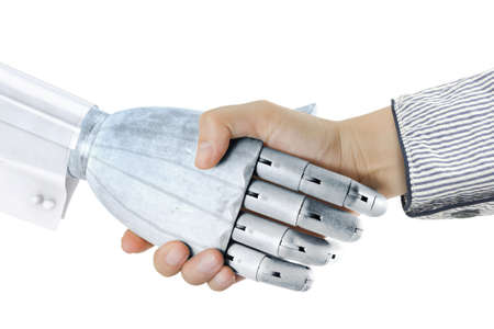 woman handshake with robot hand isolated on white background