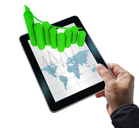 businessman hand hold tablet computer and virtual graph on white backgroundの写真素材