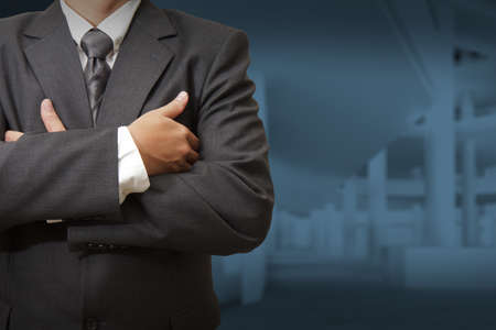 Businessman and office lobby background
