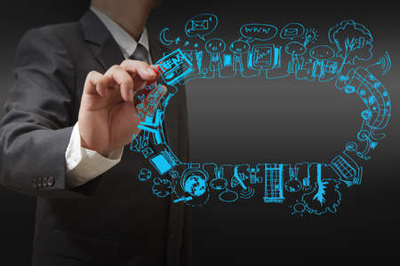 Foto de businessman drawing social network concept - Imagen libre de derechos