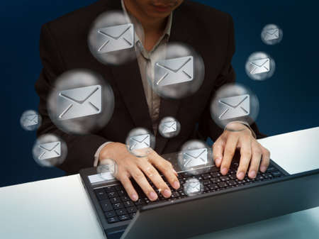 businessman working with laptop send email