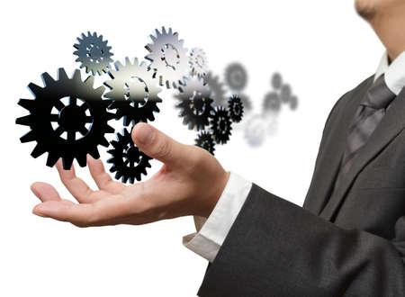 Photo pour businessman show gear to success - image libre de droit