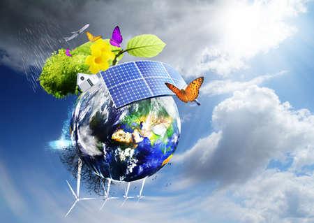 Photo pour Collage with solar batteries as alternative source of energy - image libre de droit
