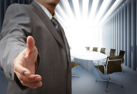 Photo for Business man and meeting table background - Royalty Free Image