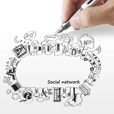 Photo for hand draws a social network - Royalty Free Image