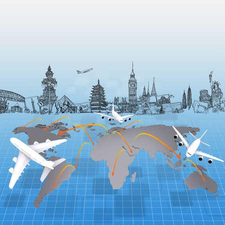 airplane around the world concept travel