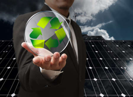 business man hand shows recycle glass shield as concept