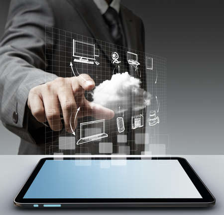 business man hand touch virtual cloud network concept