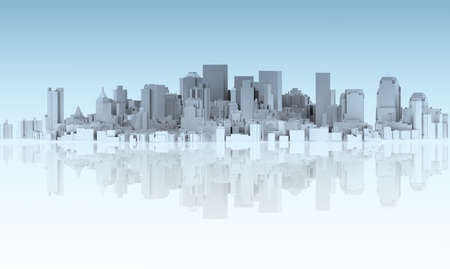 abstract city isolated on mirror floor