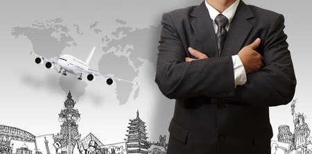 Foto de success businessman and the dream travel around the world - Imagen libre de derechos