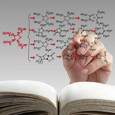 hand drawing molecule structure on white background