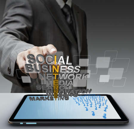 business man hand touch 3d mettalic internet concept and virtual buttons