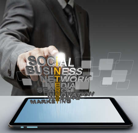 Photo for business man hand shows 3d word internet concept - Royalty Free Image