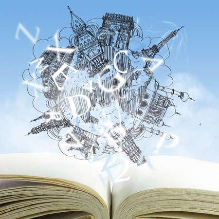 Foto de open book and drawing dream travel - Imagen libre de derechos
