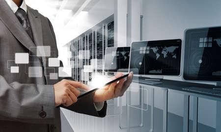 Foto de business man hand controls computer room - Imagen libre de derechos