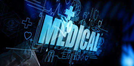 Photo pour Medicine doctor hand with stethoscope working with icon medical network connection on virtual screen interface as Modern medical technology and innovation concept - image libre de droit
