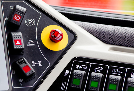Close up of control panel of agricultural vehicle