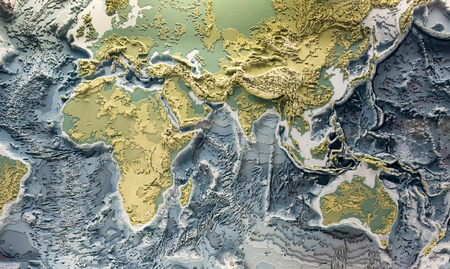 Photo pour 3D printed model of earth relief with topographic heights of mountains and depth of oceans - image libre de droit