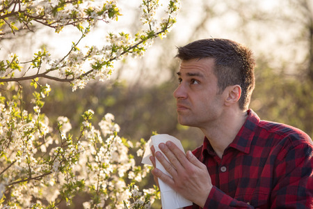 Photo pour Young handsome man having allergy symptoms beside blooming tree in spring - image libre de droit